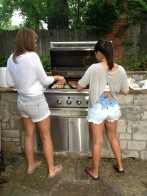Ashby and Rachel cooking up their famous batch of giraffe thighs.