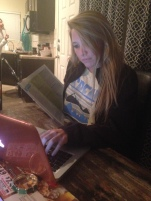 Studious Paige is taking advantage of her free night and shopping for shoes.